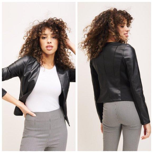 DYNAMITE Faux Leather Black Blazer Moto Jacket